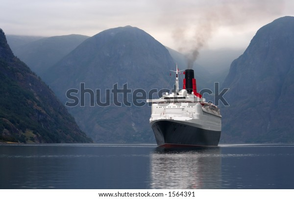Cruise Ship entering a Norwegian fjord