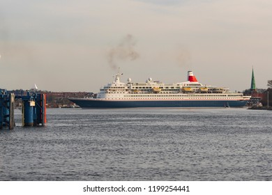 A cruise ship enters a Baltic Sea port