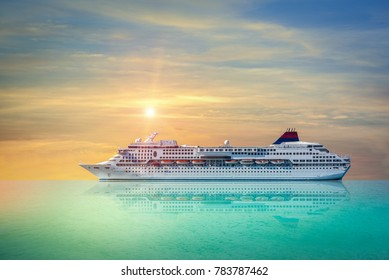 Cruise ship, Ferry sailing in the bright sunset