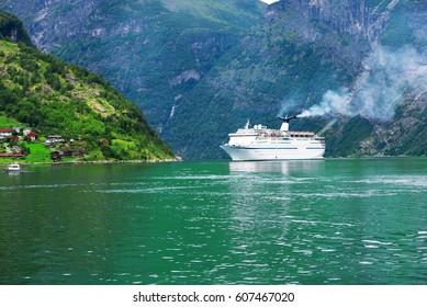 Cruise ship in fjord near Geiranger