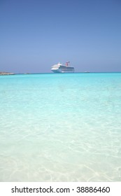 Cruise ship floating in clear water