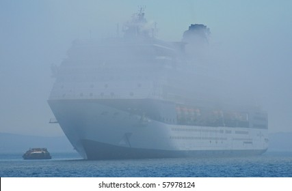 Cruise ship in Fog