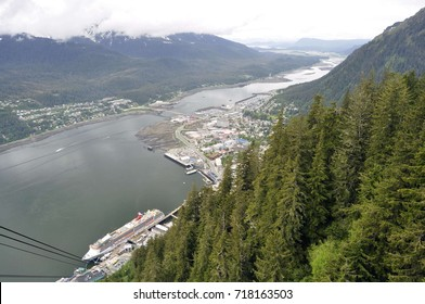 Cruise Ship in Gastineau Channel near Juneau, Alaska, USA