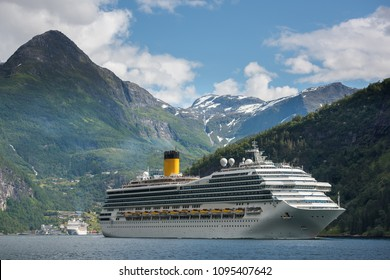 Cruise Ship at Geiranger fjord, Norway