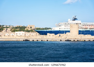Cruise ship in harbor in City of Rhodes (Rhodes, Greece)