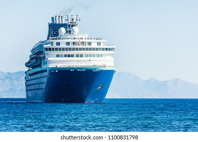 Cruise ship heading to harbor in City of Rhodes (Rhodes, Greece)