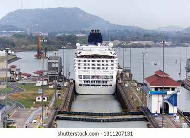 The cruise ship just passed one of Panama Canal locks and entering Miraflores Lake (Panama).