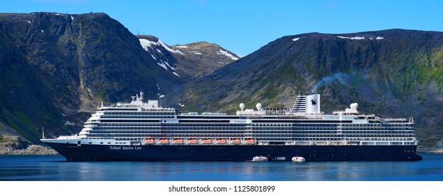 The cruise ship Koningsdam of the Holland America Line. Eidfjord, Norway.13th June 2018. For editorial use only