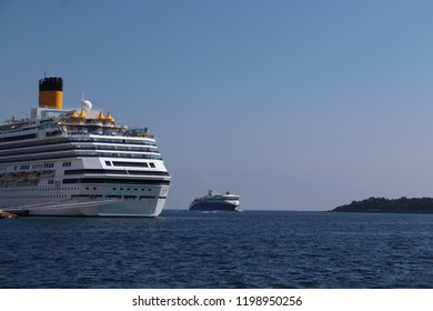 Cruise ship at Kristiansand harbor in Norway