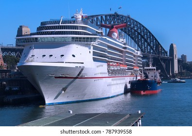 Cruise ship / liner moored at the overseas passenger terminal in Sydney Harbour Circular Quay