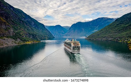 Cruise Ship, Cruise Liners On Hardanger fjorden, Flam Norway. Beautiful Nature Norway natural landscape.