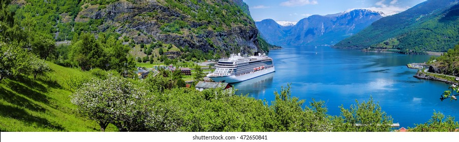 Cruise ship in the marina of famous Flam, Norway