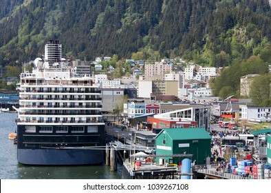 The cruise ship moored in Juneau downtown, the capital of Alaska.