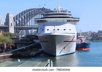 Cruise ship moored at the overseas passenger terminal in Sydney Harbour Circular Quay