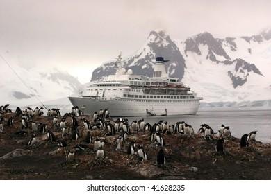 Cruise Ship off Antarctica near a Gentoo Penguin Rookery