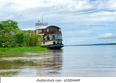 Cruise ship on the Amazon River in Peru