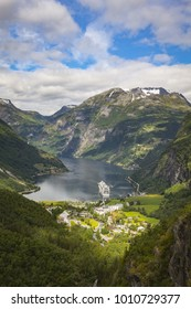 Cruise Ship on Geiranger Fjord, Norway, Scandinavia
