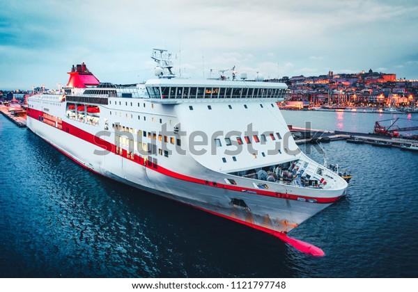 Cruise ship on the Mediterranean Sea at the port at Cagliari, Sardinia island, Italy