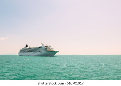 Cruise ship on the ocean.