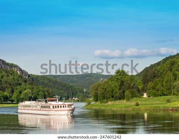 Cruise ship on river Elbe