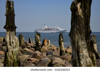 Cruise ship on the road in front of the island Sylt in Schleswig-Holstein on 07.27.2018