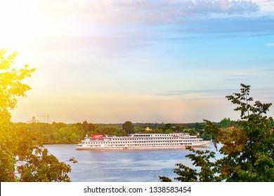 Cruise ship on the Volga river near the Volga embankment of the city of Yaroslavl