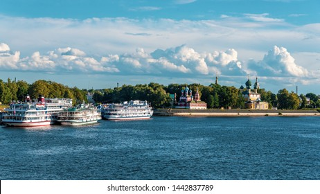 Cruise ship at the pier on the Volga river in the ancient town  of Uglich