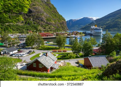 Cruise ship in the port of Flam, Norway.