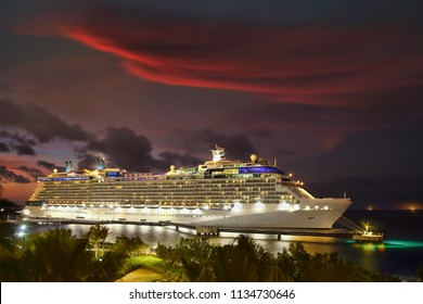Cruise Ship in port at night