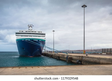 Cruise ship in port of Puerto del Rosario. Fuerteventura island. Spain