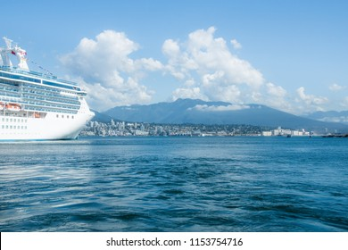 cruise ship in the port of Vancouver on a sunny summer day
