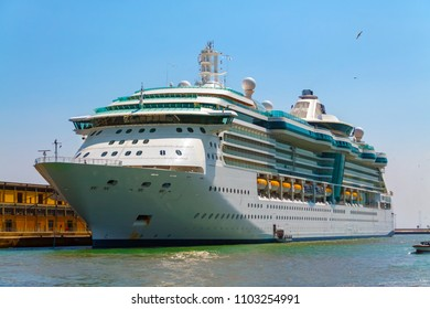 Cruise ship in the port of Venice.