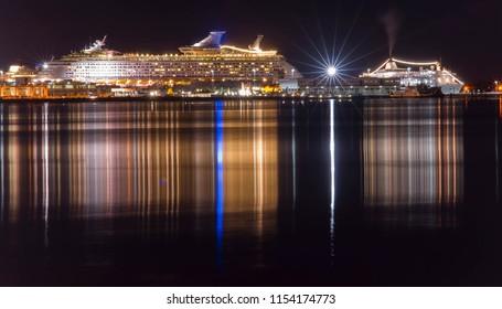 cruise ship in port. Venice, Italy. Night scene