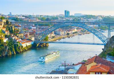 Cruise ship in Porto on the river Douro. Portugal