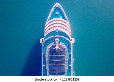 Cruise ship sailing across The Mediterranean sea - Aerial image