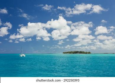 Cruise ship sailing along the coast line in the Bahamas