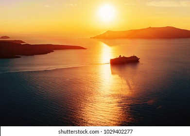 Cruise ship silhouette in sunset light