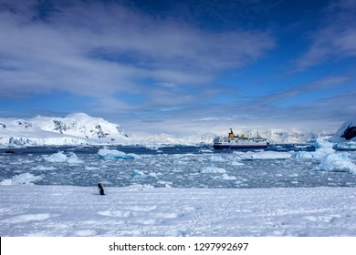 Cruise ship situated in a bay in Antarctica on a cloudy day