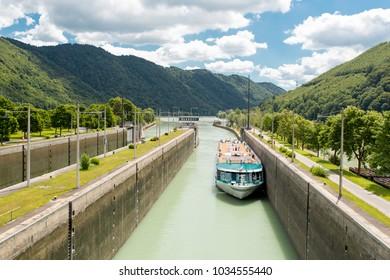 Cruise ship in sluice at Jochenstein, Austria