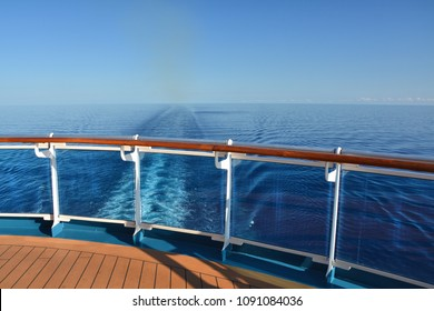 Cruise ship stern and wake on the sea
