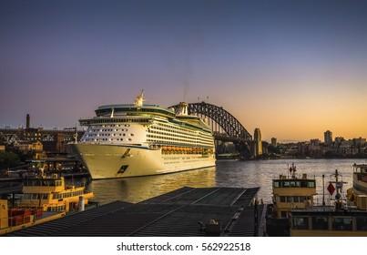 Cruise Ship in Sydney Harbour at Dawn, Australia.