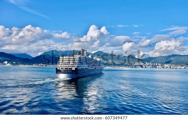 Cruise ship taking off from Port of Vancouver and sailing to Alaska. Canada Place. Vancouver. British Columbia. Canada.
