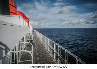 Cruise Ship Top Deck. Sea Travel and Maritime Theme.