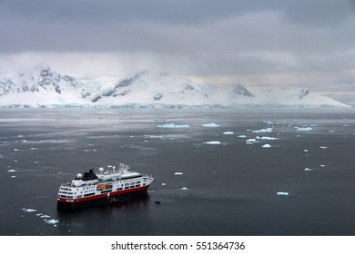 Cruise ship with tourists in Antarctica