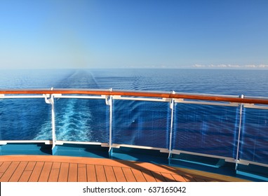 Cruise ship travel. Stern of the ship and wake on the sea