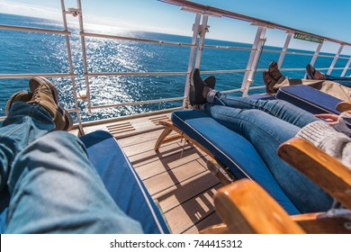 Cruise Ship Vacation. Relaxing on the Deckchair. Sea Travel Concept.