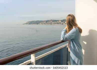 Cruise ship vacation. Teenager girl relaxing on luxury cruise ship balcony