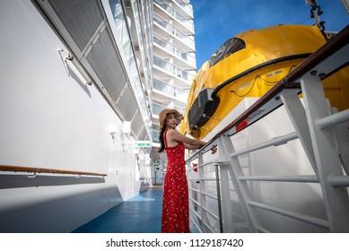 Cruise Ship Vacation Woman Enjoying Travel