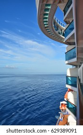 Cruise ship view from the balcony on Caribbean sea