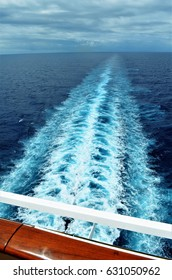 Cruise ship. Waves behind the boat that was sailing on the sea.